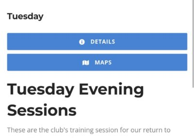 Clubtrac session booking system – 30/08/2020